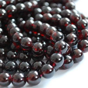 "High Quality Grade A Natural Garnet Semi-precious Gemstone Round Beads – 4mm, 6mm, 8mm, 10mm, 12mm sizes – Approx 15.5"" strand 