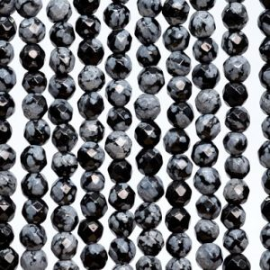 Shop Snowflake Obsidian Round Beads! Genuine Natural Snowflake Obsidian Loose Beads Faceted Round Shape 4mm | Natural genuine round Snowflake Obsidian beads for beading and jewelry making.  #jewelry #beads #beadedjewelry #diyjewelry #jewelrymaking #beadstore #beading #affiliate #ad
