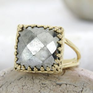 Shop Pyrite Jewelry! Gold Pyrite Ring, gemstone Ring, square Ring, bridal Ring, wedding Ring, brides Gift, birthday Ring, bridal Jewelry | Natural genuine Pyrite jewelry. Buy handcrafted artisan wedding jewelry.  Unique handmade bridal jewelry gift ideas. #jewelry #beadedjewelry #gift #crystaljewelry #shopping #handmadejewelry #wedding #bridal #jewelry #affiliate #ad