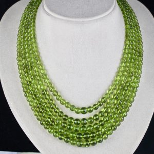 Shop Peridot Necklaces! Green 5 Line 811 Carats Natural PERIDOT ROUND BEADS l Necklace | Natural genuine gemstone jewelry in modern, chic, boho, elegant styles. Buy crystal handmade handcrafted artisan art jewelry & accessories. #jewelry #beaded #beadedjewelry #product #gifts #shopping #style #fashion #product