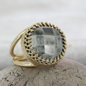 Shop Pyrite Jewelry! Grey Pyrite Ring, 14k Gold Ring, solid Gold Ring, natural Gemstone Ring, statement Ring, customize Rings | Natural genuine Pyrite jewelry. Buy crystal jewelry, handmade handcrafted artisan jewelry for women.  Unique handmade gift ideas. #jewelry #beadedjewelry #beadedjewelry #gift #shopping #handmadejewelry #fashion #style #product #jewelry #affiliate #ad