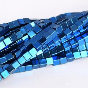 """Shop Hematite Bead Shapes! 2MM Blue Hematite Beads Cube Grade AAA Natural Gemstone Full Strand Loose Beads 15.5"""" BULK LOT 1,3,5,10 and 50 (104798-1308) 