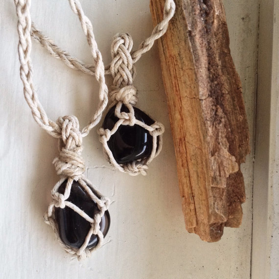 His And Her Apache Tear Obsidian Set - Two Natural Hempwrapped Necklaces