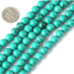 "Shop Howlite Round Beads! Natural Green Howlite Gemstone Beads 4mm 6mm 8mm 10mm Round Loose Beads 15.5"" (1 Strand) #19gsp 