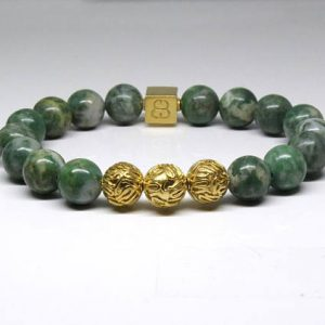 Jade Bracelets Men S Bracelet Qinghai Green And 22k Gold Beads