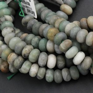 "Shop Jade Beads! Matte African Green Jade 8mm 10mm 12mm Rondelle Beads Natural Green Jade Organic Earthy Green Gemstone 15.5"" Strand 