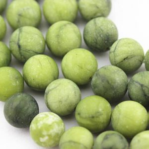 "Shop Jade Beads! Natural Green Jade Matte Round Beads 4mm 6mm 8mm 10mm 12mm 15.5"" Strand 