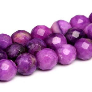 "Shop Jasper Faceted Beads! 4MM Jasper Sugilite Purple Beads Grade AA Natural Gemstone Faceted Round Loose Beads 14""/ 7"" Bulk Lot Options (101962) 