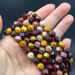 "Shop Jasper Faceted Beads! 8mm Faceted Mookaite Jasper Beads Hexagon Beads Cube Beads Natural Mookaite Gemstone Semiprecious Beads 15.5"" Strand 