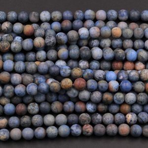 "Matte Finish Natural Sunset Dumortierite 4mm 6mm 8mm 10mm Matte Round Beads Earthy Blue Rusty Orange Red Jasper 15.5"" Strand 
