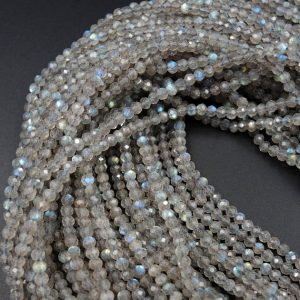 "Superior Flash AAA Quality Micro Faceted Tiny Natural Dark Labradorite Round Beads 3mm Faceted Round Beads 16"" Strand 