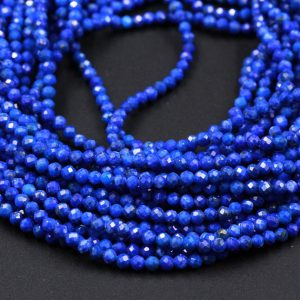 "AAA Micro Faceted Natural Blue Lapis Lazuli Round Beads Tiny Small 2mm 3mm 4mm Faceted Round Beads Diamond Cut Gemstone 15.5"" Strand 