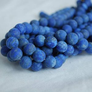 "Shop Lapis Lazuli Round Beads! High Quality Grade A Natural Lapis Lazuli – MATTE – Semi-precious Gemstone Round Beads – 4mm, 6mm, 8mm, 10mm sizes – Approx 15.5"" strand 