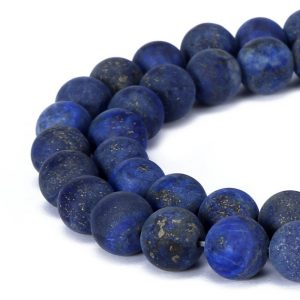 "Lapis Lazuli Matte Round Beads 4mm 6mm 8mm 10mm 12mm Approx 15.5"" Strand 
