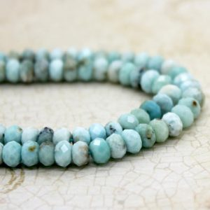 High Quality Larimar Faceted Rondelle Beads Natural Loose Gemstone (2mm X 3mm 2mm X 4mm 4mm X 6mm) | Natural genuine rondelle Larimar beads for beading and jewelry making.  #jewelry #beads #beadedjewelry #diyjewelry #jewelrymaking #beadstore #beading #affiliate #ad