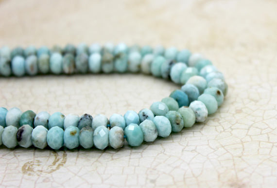 High Quality Larimar Faceted Rondelle Beads Natural Loose Gemstone (2mm X 3mm 2mm X 4mm 4mm X 6mm)
