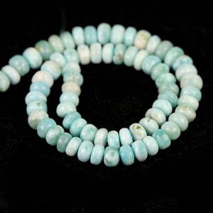 Shop Larimar Rondelle Beads! Larimar Smooth Rondelle Beads 19 Pieces of Aqua Blue White Cream Exotic Gemstones | Natural genuine rondelle Larimar beads for beading and jewelry making.  #jewelry #beads #beadedjewelry #diyjewelry #jewelrymaking #beadstore #beading #affiliate #ad