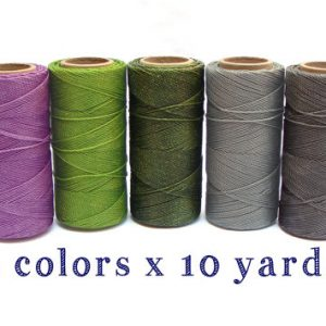 Macrame Cord – Polyester Cord- Wax Cord – Macrame Thread – Set of 5 Colors – 10 yards each – FAIRY
