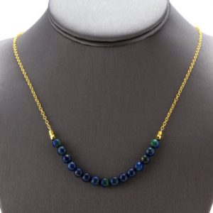 Shop Azurite Jewelry! Mineral Bar Necklace, Azurite Necklace, Curved Bar Necklace, Skinny Bar Necklace, Raw Mineral Necklace, Raw Crystal Necklace | Natural genuine Azurite jewelry. Buy crystal jewelry, handmade handcrafted artisan jewelry for women.  Unique handmade gift ideas. #jewelry #beadedjewelry #beadedjewelry #gift #shopping #handmadejewelry #fashion #style #product #jewelry #affiliate #ad