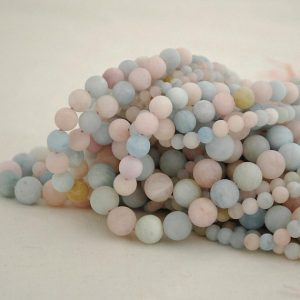 "High Quality Grade A Natural Beryl / Morganite Semi-precious Gemstone FROSTED MATTE Round Beads – 4mm, 6mm, 8mm, 10mm – Approx 16"" strand"