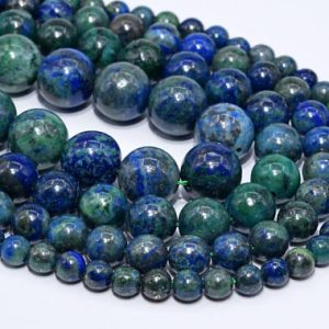 Shop Azurite Round Beads! Natural Azurite Loose Beads Round Shape 6mm 8mm 10mm 16mm | Natural genuine round Azurite beads for beading and jewelry making.  #jewelry #beads #beadedjewelry #diyjewelry #jewelrymaking #beadstore #beading #affiliate #ad