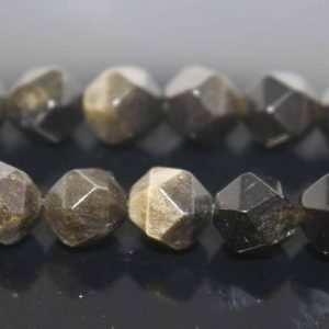 Natural Faceted Golden Obsidian Nugget Beads,Golden Obsidian Beads,6mm 8mm 10mm 12mm Star Cut Faceted beads,one strand 15"