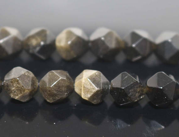 """Natural Star Cut Faceted Golden Obsidian Nugget Diamond Beads,6mm 8mm 10mm 12mm Golden Obsidian Beads Wholesale Supply,one Strand 15"""""""