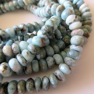 Shop Larimar Rondelle Beads! Natural Larimar Rondelle Beads, 7mm Larimar Rondelles, Larimar Jewelry, Larimar Stone, 13 Inch Strand, GDS705 | Natural genuine rondelle Larimar beads for beading and jewelry making.  #jewelry #beads #beadedjewelry #diyjewelry #jewelrymaking #beadstore #beading #affiliate #ad