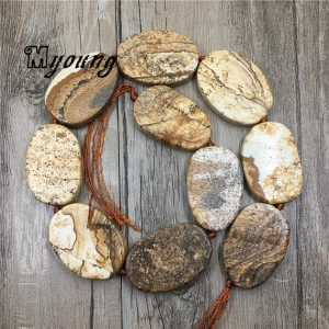 Shop Picture Jasper Bead Shapes! Natural Picture Jasper Slice Beads, Oval Raw Picture Stone Quartz Gemstone Slab Pendant Beads For Jewelry DIY, GB122305 | Natural genuine other-shape Picture Jasper beads for beading and jewelry making.  #jewelry #beads #beadedjewelry #diyjewelry #jewelrymaking #beadstore #beading #affiliate #ad