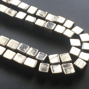 Natural Pyrite Cube Beads, Natural Pyrite Plain Box Beads, Natural Pyrite Necklace, 5mm, 8 Inch – AGP199 | Natural genuine other-shape Gemstone beads for beading and jewelry making.  #jewelry #beads #beadedjewelry #diyjewelry #jewelrymaking #beadstore #beading #affiliate #ad