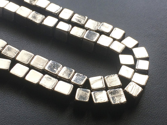 5mm Natural Pyrite Cube Beads, Natural Pyrite Plain Box Beads, Natural Pyrite For Necklace, Natural Pyrite Plain Cubes (8in To 16in Options)