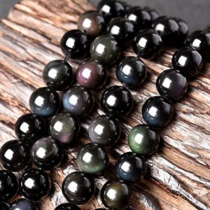Natural Rainbow Black Obsidian Beads, Smooth Round 4mm-20mm, 15.4 Inch Strand (GO01) | Natural genuine round Rainbow Obsidian beads for beading and jewelry making.  #jewelry #beads #beadedjewelry #diyjewelry #jewelrymaking #beadstore #beading #affiliate #ad