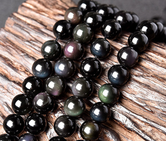 Natural Rainbow Black Obsidian Beads, Smooth Round 4mm-20mm, 15.4 Inch Strand (go01)