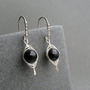 Black Obsidian Sterling Silver Earrings, Dangle Wire Wrapped Black Gemstone Earrings, Gift For Her, Base Chakra Stone, Obsidian Jewelry | Natural genuine Gemstone jewelry. Buy crystal jewelry, handmade handcrafted artisan jewelry for women.  Unique handmade gift ideas. #jewelry #beadedjewelry #beadedjewelry #gift #shopping #handmadejewelry #fashion #style #product #jewelry #affiliate #ad