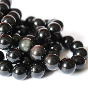 "Shop Obsidian Beads! High Quality Grade A Natural Rainbow Sheen Black Obsidian Semi-precious Gemstone Round Beads – 4mm, 6mm, 8mm, 10mm sizes – 16"" strand 
