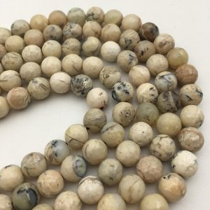 "Shop Opal Beads! Natural Faceted African White Opal Round Loose Beads 15.5"" Long Per Strand Size 4mm/6mm/8mm/10mm/12mm.R-F-OPA-0320 