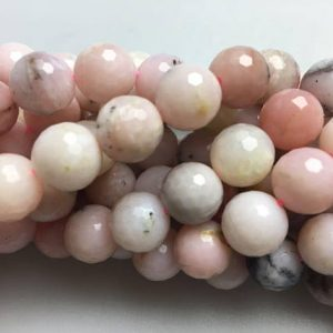 "Shop Opal Faceted Beads! Natural Pink Opal Faceted Round Loose Bead Size 6mm/8mm/10mm/12mm 15.5"" Long Per Strand.R-F-OPA-1213 
