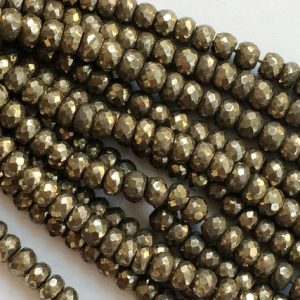 Shop Pyrite Necklaces! Pyrite Beads, Natural Pyrite Faceted Rondelles, Pyrite Necklace, 8mm Beads, 7 Inch Strand, Pyrite Wholesale | Natural genuine Pyrite necklaces. Buy crystal jewelry, handmade handcrafted artisan jewelry for women.  Unique handmade gift ideas. #jewelry #beadednecklaces #beadedjewelry #gift #shopping #handmadejewelry #fashion #style #product #necklaces #affiliate #ad