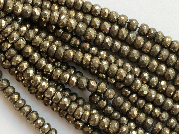 8mm Pyrite Faceted Rondelle Beads, Natural Pyrite Rondelle Beads, Natural Pyrite Faceted Beads For Jewelry (4in To 8in Options)