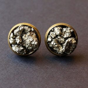 Pyrite Cluster Stud Earrings, Raw Pyrite Earrings | Natural genuine Gemstone earrings. Buy crystal jewelry, handmade handcrafted artisan jewelry for women.  Unique handmade gift ideas. #jewelry #beadedearrings #beadedjewelry #gift #shopping #handmadejewelry #fashion #style #product #earrings #affiliate #ad