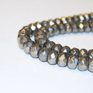 Shop Pyrite Rondelle Beads! Pyrite Faceted Rondelle Loose Beads Approx 15.5'' Long per Strand Size 2x4mm/3x5mm/4x6mm/5x8mm/6x10mm. I-PYR-0317 | Natural genuine rondelle Pyrite beads for beading and jewelry making.  #jewelry #beads #beadedjewelry #diyjewelry #jewelrymaking #beadstore #beading #affiliate #ad