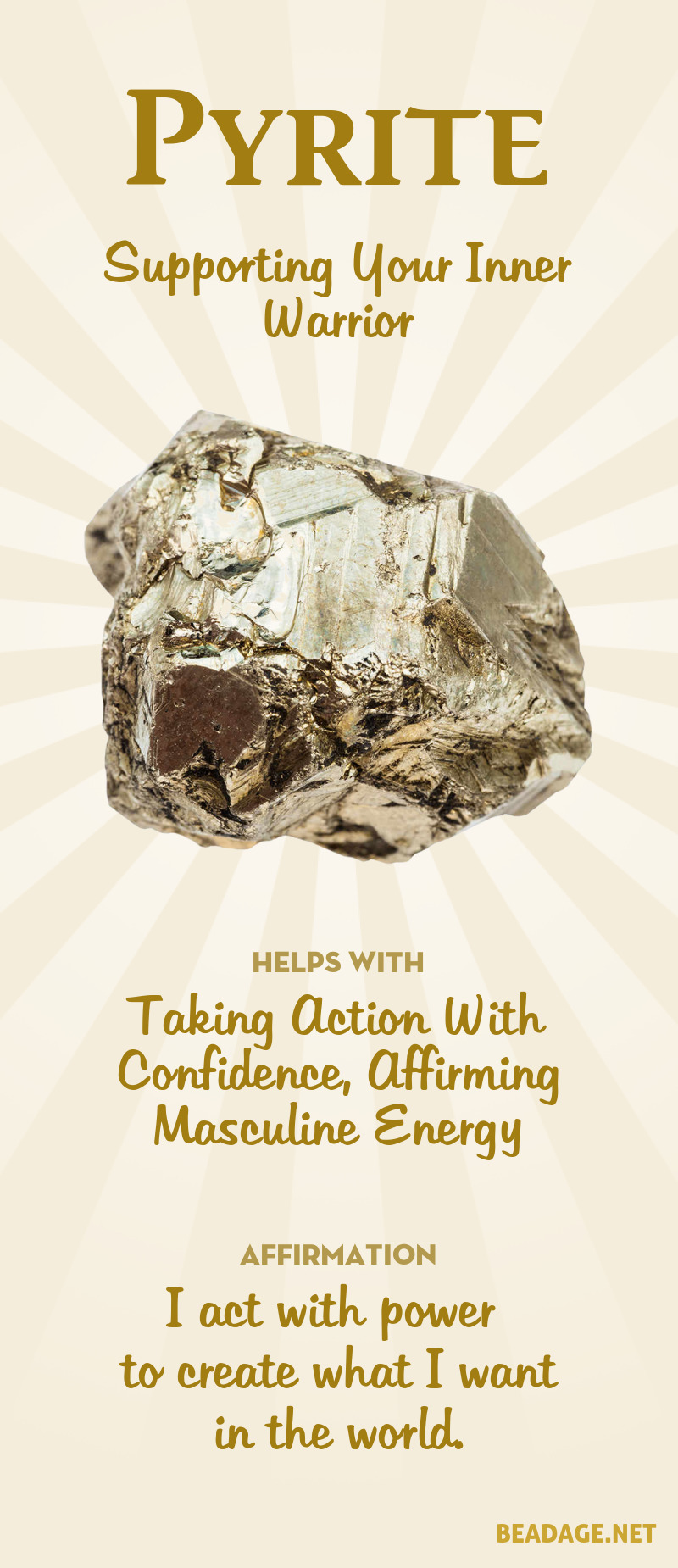 Pyrite Meaning & Healing Properties | Learn gemstone meanings, gemstone information, crystal healing, stone powers, chakra stones, & pyrite benefits. Get some positive energy & vibes! #gemstones #crystals #crystalhealing #beadage  #pyrite