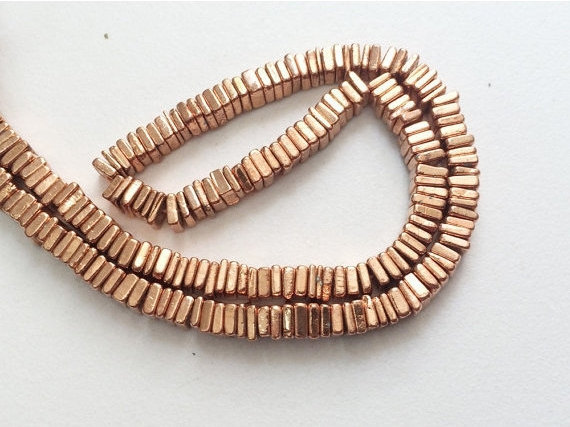 5-6mm Copper Pyrite Heishi Beads, Pyrite Square Heishi Beads, Pyrite Spacer Beads, Pyrite For Necklace (4in To 16in Options) - Agp185