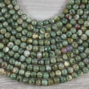 Shop Rainforest Jasper Beads! Rainforest Jasper aka Green Rhyolite Round Grade A | Natural genuine round Rainforest Jasper beads for beading and jewelry making.  #jewelry #beads #beadedjewelry #diyjewelry #jewelrymaking #beadstore #beading #affiliate #ad