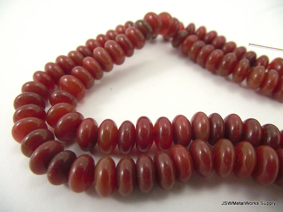8mm Red Agate Rondelle Bead Strand, Jewelry Beading Diy
