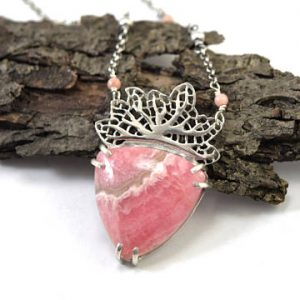 Pink Rhodochrosite Fan Coral Necklace in Sterling Silver | Natural genuine Rhodochrosite pendants. Buy crystal jewelry, handmade handcrafted artisan jewelry for women.  Unique handmade gift ideas. #jewelry #beadedpendants #beadedjewelry #gift #shopping #handmadejewelry #fashion #style #product #pendants #affiliate #ad