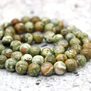 Shop Rainforest Jasper Beads! Rhyolite Green Rain forest Jasper Round Gemstone Beads (4mm 6mm 8mm 10mm) | Natural genuine round Rainforest Jasper beads for beading and jewelry making.  #jewelry #beads #beadedjewelry #diyjewelry #jewelrymaking #beadstore #beading #affiliate #ad