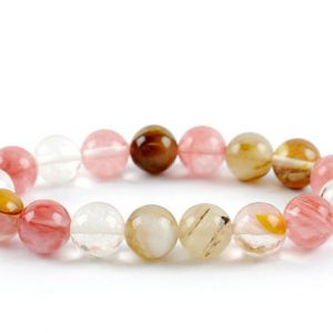 Shop Rose Quartz Bracelets! 10mm Multicolored Quartz Bracelet, Multicolored Quartz Bracelets 10 mm, Bracelet White Quartz, Healing Bead Bracelet, Rose Quartz Genuine | Natural genuine Rose Quartz bracelets. Buy crystal jewelry, handmade handcrafted artisan jewelry for women.  Unique handmade gift ideas. #jewelry #beadedbracelets #beadedjewelry #gift #shopping #handmadejewelry #fashion #style #product #bracelets #affiliate #ad