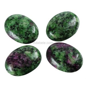 "2pcs Aaa Natural Ruby Zoisite Oval Cabochon Flatback Gemstone Beads 20x15mm Or 0.79"" X 0.6"" #gn18-g 