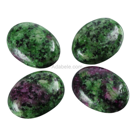 """2pcs Aaa Natural Ruby Zoisite Oval Cabochon Flatback Gemstone Beads 20x15mm Or 0.79"""" X 0.6"""" #gn18-g"""